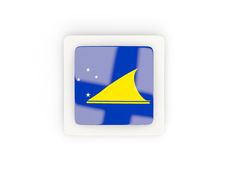 tokelau: Square carbon icon with flag of tokelau. 3D illustration