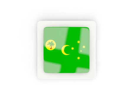 Square carbon icon with flag of cocos islands. 3D illustration Stock Photo