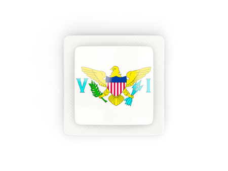 virgin islands: Square carbon icon with flag of virgin islands us. 3D illustration