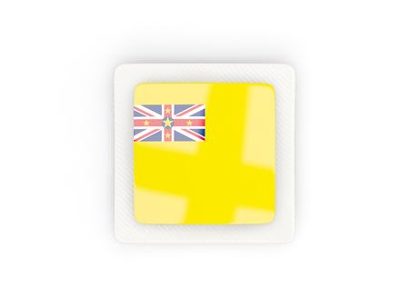 niue: Square carbon icon with flag of niue. 3D illustration