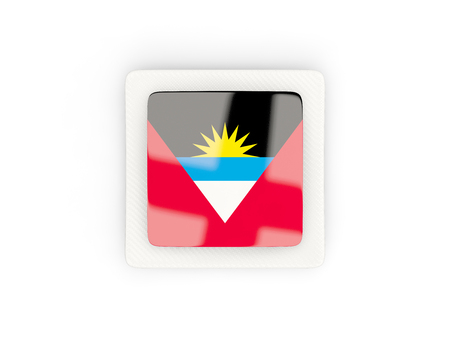 antigua: Square carbon icon with flag of antigua and barbuda. 3D illustration