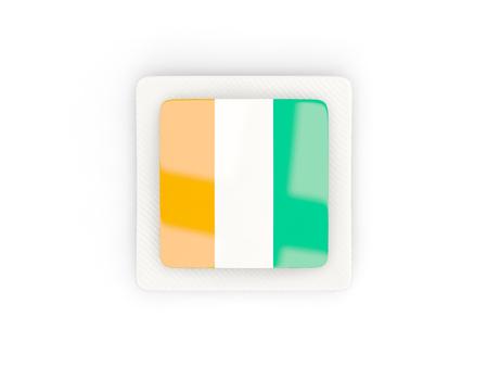 Square carbon icon with flag of cote d Ivoire. 3D illustration