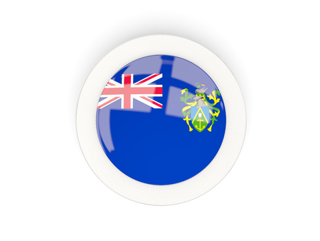 pitcairn: Round flag of pitcairn islands with carbon frame. 3D illustration