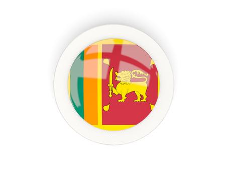 Round flag of sri lanka with carbon frame. 3D illustration Stock Photo