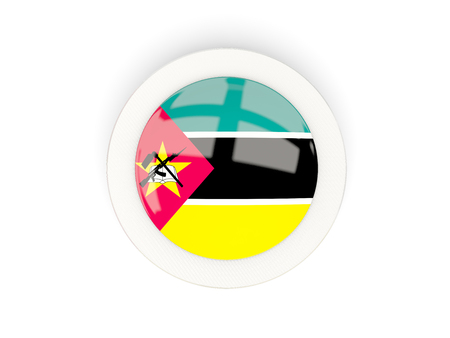 Round flag of mozambique with carbon frame. 3D illustration