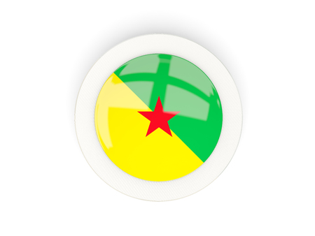 Round flag of french guiana with carbon frame. 3D illustration Stock Photo