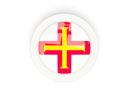 guernsey: Round flag of guernsey with carbon frame. 3D illustration Stock Photo