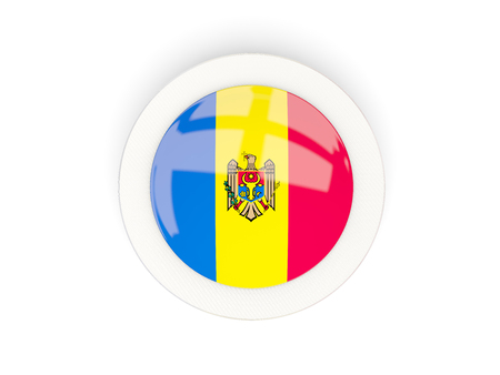 Round flag of moldova with carbon frame. 3D illustration Stock Photo