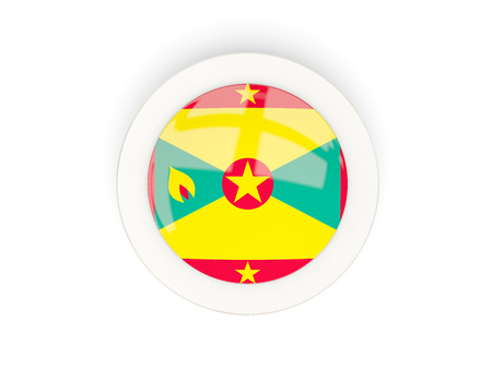 Round flag of grenada with carbon frame. 3D illustration