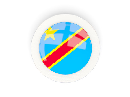Round flag of democratic republic of the congo with carbon frame. 3D illustration