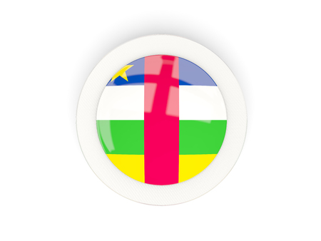 Round flag of central african republic with carbon frame. 3D illustration