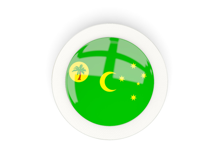 Round flag of cocos islands with carbon frame. 3D illustration