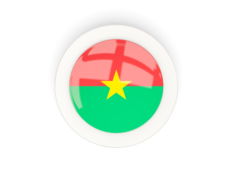 Round flag of burkina faso with carbon frame. 3D illustration