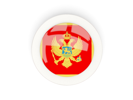 Round flag of montenegro with carbon frame. 3D illustration