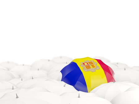 tourism in andorra: Umbrella with flag of andorra isolated on white. 3D illustration