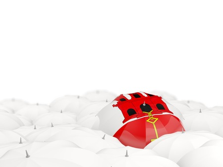 Umbrella with flag of gibraltar isolated on white. 3D illustration Stock Photo