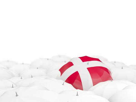 Umbrella with flag of denmark isolated on white. 3D illustration