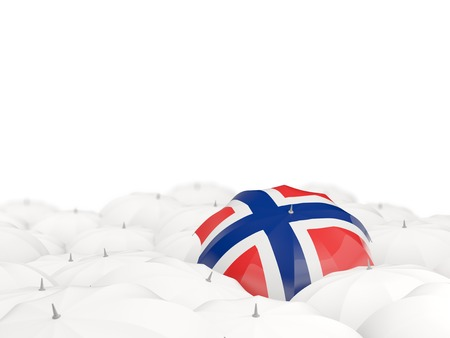 Umbrella with flag of norway isolated on white. 3D illustration