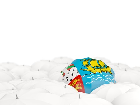 pierre: Umbrella with flag of saint pierre and miquelon isolated on white. 3D illustration Stock Photo