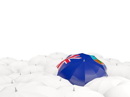 Umbrella with flag of montserrat isolated on white. 3D illustration