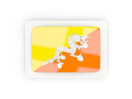 bhutan: Rectangular flag of bhutan with carbon frame. 3D illustration