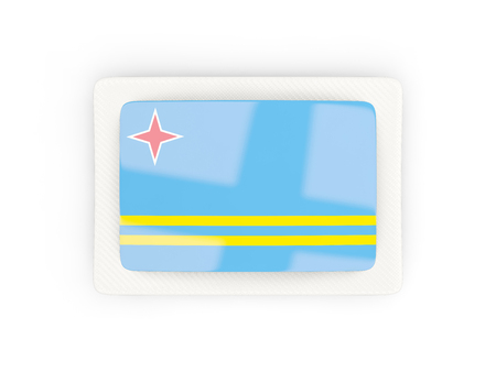 Rectangular Flag Of Aruba With Carbon Frame. 3D Illustration Stock ...