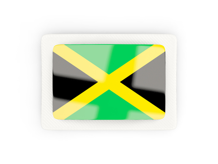 Rectangular flag of jamaica with carbon frame. 3D illustration Stock Photo