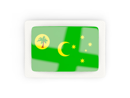 Rectangular flag of cocos islands with carbon frame. 3D illustration Stock Photo