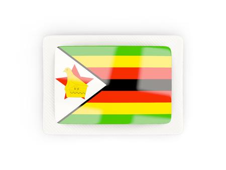 zimbabwe: Bandera rectangular de Zimbabwe con marco de carbono. Ilustración 3D