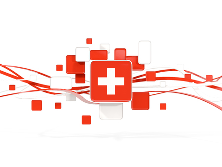 Flag of switzerland, mosaic background with lines. 3D illustration