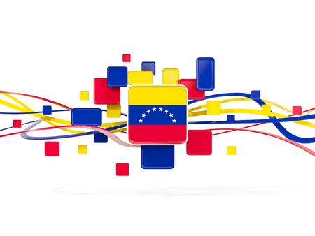 Flag of venezuela, mosaic background with lines. 3D illustration