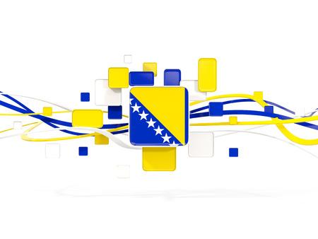 Flag of bosnia and herzegovina, mosaic background with lines. 3D illustration