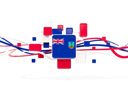 Flag of montserrat, mosaic background with lines. 3D illustration