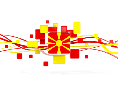 Flag of macedonia, mosaic background with lines. 3D illustration