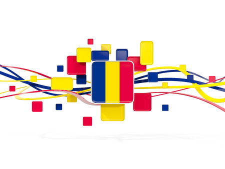Flag of chad, mosaic background with lines. 3D illustration