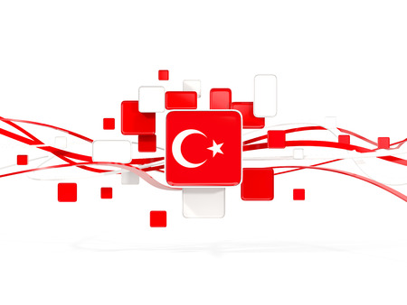 Flag of turkey, mosaic background with lines. 3D illustration Stock Photo
