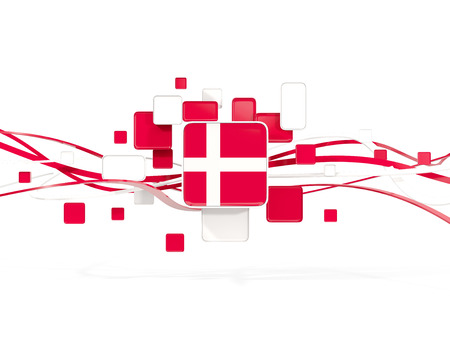 Flag of denmark, mosaic background with lines. 3D illustration