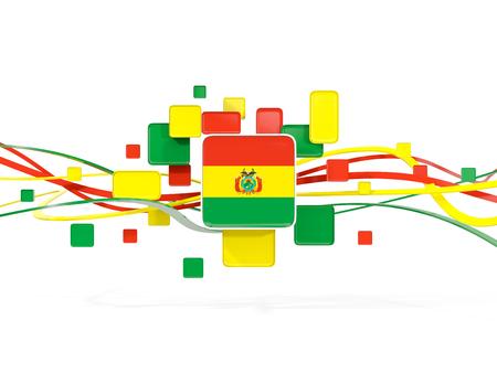 Bandera de Bolivia, fondo de mosaico con líneas. Ilustración 3D Foto de archivo