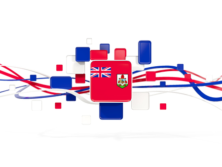 Flag of bermuda, mosaic background with lines. 3D illustration Stock Illustration - 76674973