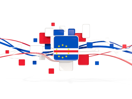 Flag of cape verde, mosaic background with lines. 3D illustration