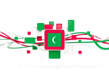 モルディブ、ラインとモザイクの背景の旗。3 D イラストレーション