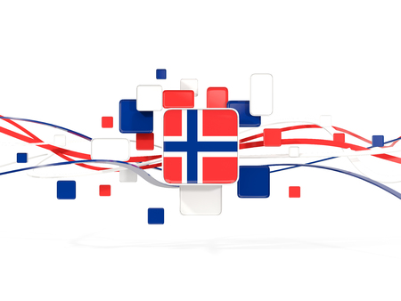 Flag of norway, mosaic background with lines. 3D illustration