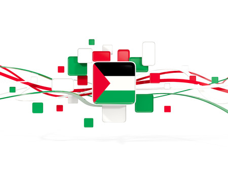 Flag of palestinian territory, mosaic background with lines. 3D illustration