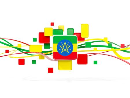 national flag ethiopia: Flag of ethiopia, mosaic background with lines. 3D illustration