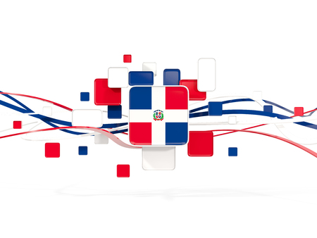 Flag of dominican republic, mosaic background with lines. 3D illustration