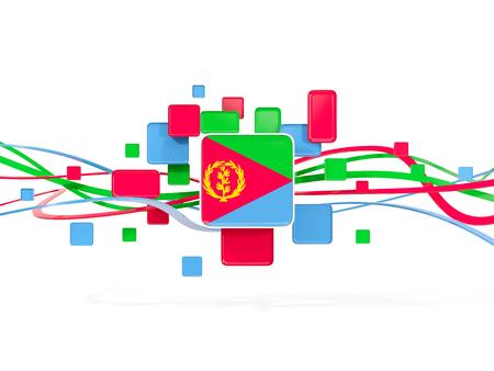 eritrea: Flag of eritrea, mosaic background with lines. 3D illustration