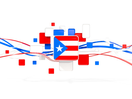 Flag of puerto rico, mosaic background with lines. 3D illustration