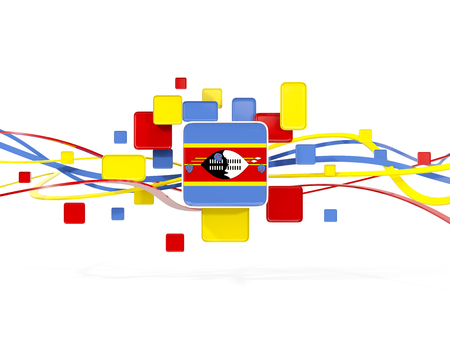 Flag of swaziland, mosaic background with lines. 3D illustration