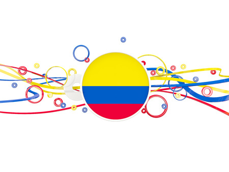 Flag of colombia, circles pattern with lines. 3D illustration