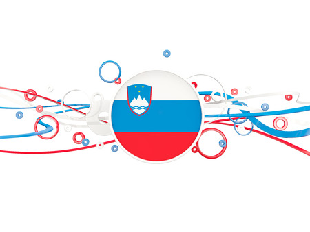 Flag of slovenia, circles pattern with lines. 3D illustration Stock Photo